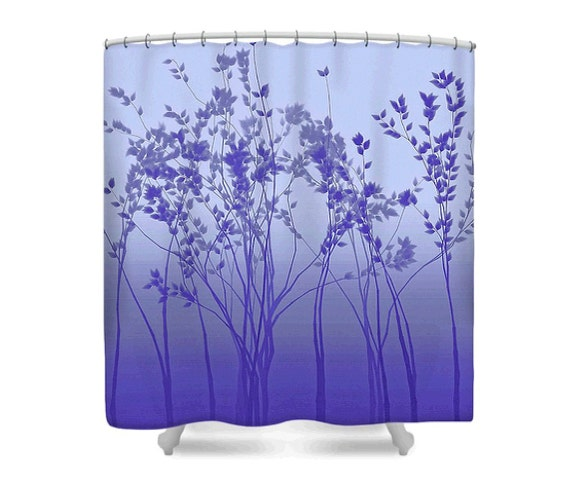 Fabric tree shower curtain silver twilight ombre purple for Blue and purple bathroom ideas