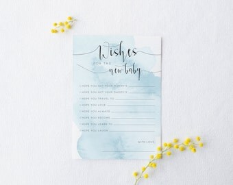 Wishes for the Baby - Printable Watercolour Blue Design