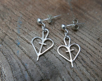 Stud dangle earrings,Heart earrings,Eco silver,Faith hope charity,Coptic cross,Ankh earrings,Ethical earrings,Charm earrings