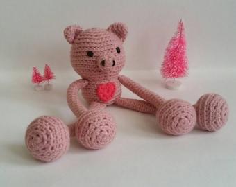 Pig Amigurumi Lovey. Crochet Pig Stuffed Animal. Pig Plushie. Pig Nursery Decoration