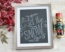 Christmas Wall Art, Let It Snow, Rustic Christmas Decor, Christmas Wall Decor, Farmhouse Christmas, Holiday Decoration, Christmas Print