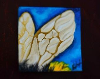 Bee Wing 7x7cm Original Acrylic Painting