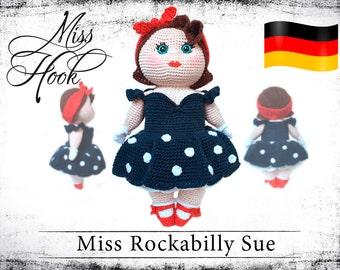 "crochet doll pattern ""Miss Rockabilly Sue"" eBook PDF (german language)"