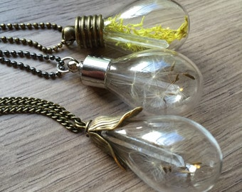 Dandelion Wisps and Quartz Crystal Vial Necklace