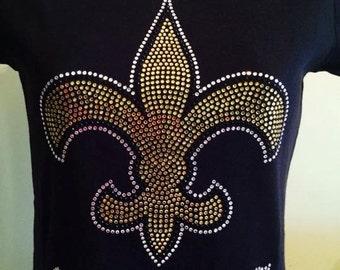 New Orleans Saints Rhinestone T -shirt design