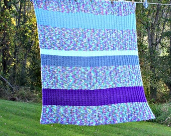 CLEARANCE SALE-Vintage Knitted Striped Throw, Purple and Blue Multi Lap Blanket