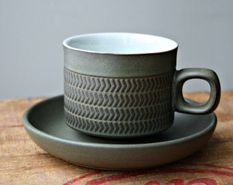 Vintage Denby Chevron (Camelot) Mugs and Saucers