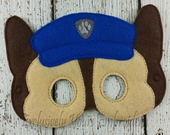 Police Dog Children's Mask Chase inspired Paw Patrol inspired - Costume - Theater - Dress up - Halloween - Pretend Play - Party Favor