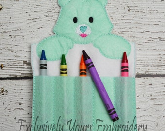 READY TO SHIP Friendly Bear Crayon Holder, Toddler Arts and Crafts, Back To School, Travel Case