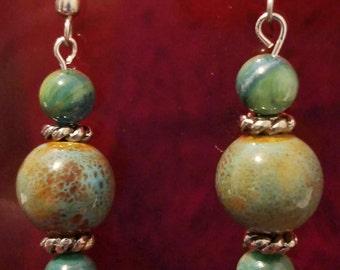 Earthy Green Stone Earrings