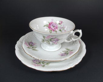 Teacup and Saucer(s) Set, Pink Roses, Walbrzych China, Collectible, Home and Living, Gift