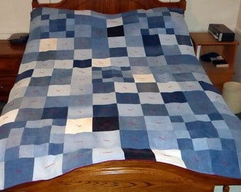 Upcycled Blue Jean Denim Quilt with fleece back, 61x84 (part# 1017)