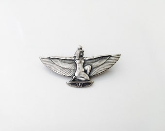 Vintage ISIS egyptian goddess with wings unmarled pewter brooch