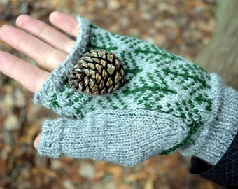 Fingerless Gloves with Trees