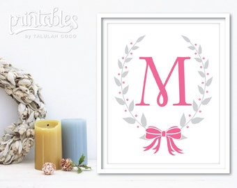 Nursery Name Sign, Baby Girl Nursery Letter Printable, Pink Nursery Wall Art,  Custom Nursery Decor, Nursery Wall Letters, Baby Shower Gift