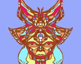 Butterfly Warrior Song Digital Art Print Azteca Chicano Painting