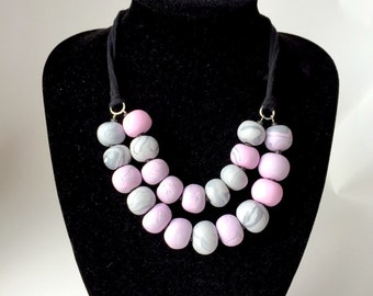 Pink statement necklace. Big bold polymer clay necklace. Multi strand necklace. Gift for her. Mother's day gift. Designer necklace. Grey