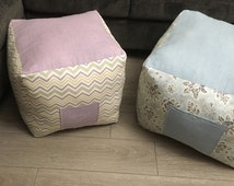 Blue & Purple Pouf Bag - Poof bag with pocket ottoman