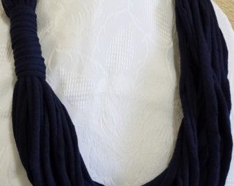 Navy Blue Infinity Scarf **T shirt scarf** Jersey Scarf T shirt Necklace **Nautical / Sailor look**