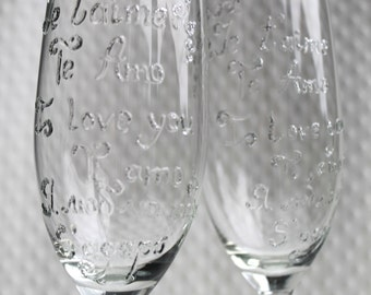 2 Hand Painted Champaigne Glasses, Decorated Champaigne Glasses, Hand Painted Glasses, Love Champaigne glasses