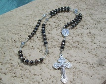 Seven Sorrows of Mary Chaplet, Handmade with Love in black Crystals and silver beads caps,