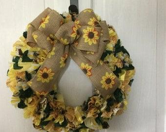 Sunflower Rag Wreath