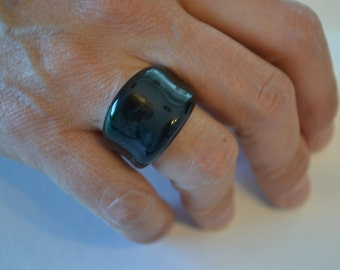 Blown glass two coloured ring/handmade ring/blue-green glass ring/vintage glass ring/vintage ring/bands/glass bands/an.182
