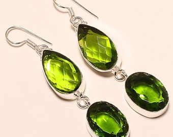 Peridot Faceted Oval 925 Silver Earrings, August Birthday, Faceted Peridot, green Earrings, Natural Gemstone