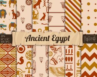 """Egyptian Digital Paper : """" Ancient Egypt """" Hieroglyphics Scrapbook Paper, Papyrus Vintage Antique Egypt Patterns, oriental digital paper"""