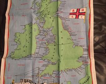 Life boat chart of Great Britain and Ireland tea towel