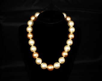 Vintage-Beaded Necklace-Champagne and White Pearlescent Large Beads