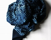 Reserved for patty/African indigo dyed big shawl/dark indigo/shibori/1950's/hand-weaving/hand-stitch/African/natural indigo/051