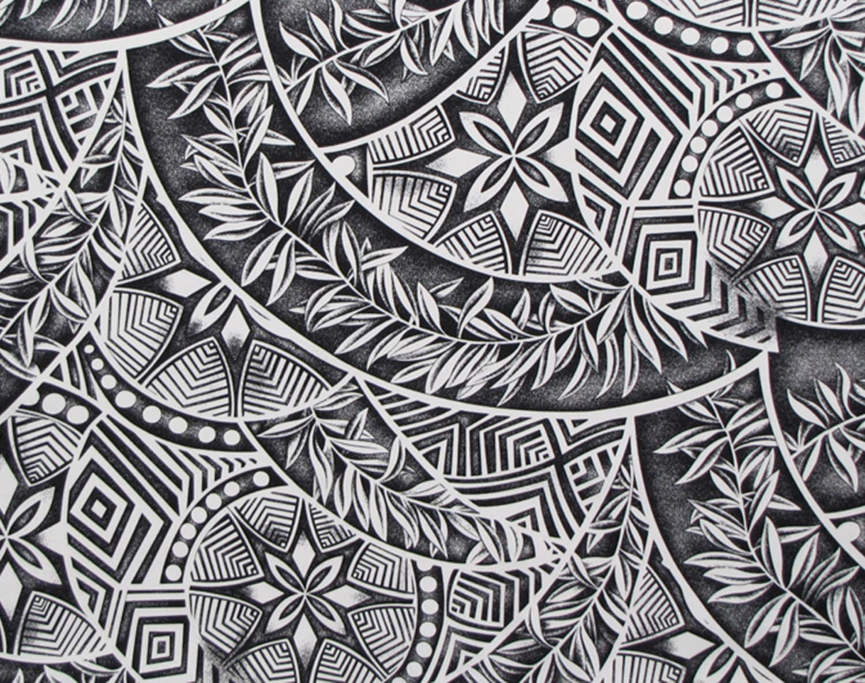 Fabric Polynesian Tattoo Tapa Black And White Geometric
