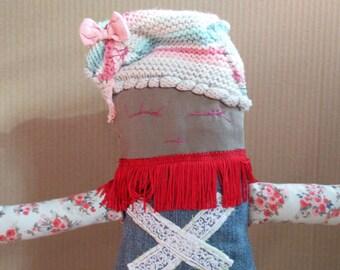 Handmade cloth doll / Fabric rag doll / Soft art doll