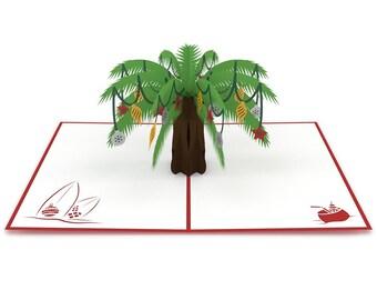 Festive Palm Tree Pop Up Christmas Card, Palm Tree Christmas Card, Christmas Tree Pop Up Card, Tropical Christmas Card, Christmas Vacation