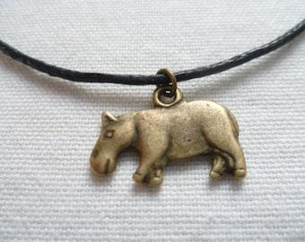 Hippo choker,cord choker, hippo choker necklace,hippo jewellery,gift,black choker,animal jewelry,small hippo, bronze hippo