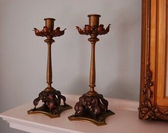 W.A.S. Benson Arts and Crafts/Art Nouveau Candlesticks