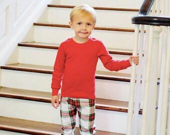 Monogrammed Pajamas, Plaid Christmas Pajamas, Monogrammed Childrens Christmas Pajamas, Christmas Pajamas,