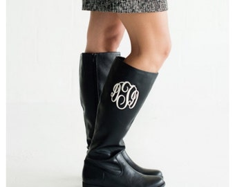 Monogrammed Boots, Free Monogram, Christmas Boots, Black Monogrammed Boots