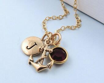 Gold Anchor Necklace, Personalized Anchor Jewelry, Birthstone Necklace, Anchor Charm Necklace, Tiny Anchor, Nautical Anchor