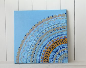 Henna Art - Blue Painting - Unique Gift - Gift for Her