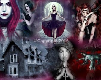 gothic collage print