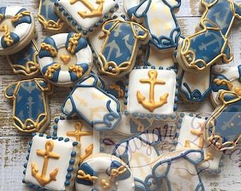 2 Dozen Nautical Theme Baby Shower Mini Decorated Cookies