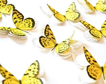 Yellow butterflies, butterfly wall decor, yellow wedding decor, butterfly wall stickers, butterfly wall art