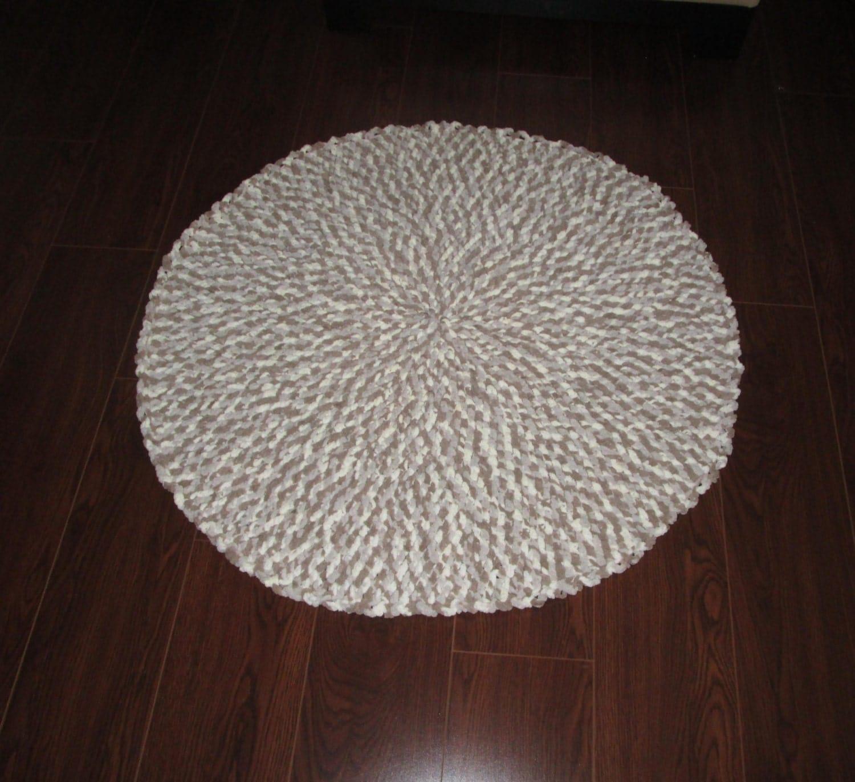SALE: Crochet Round Rug Cushy Plush Brown & By