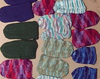 Slippers women men children custom knit batch of ten 10 pairs hand-knitted socks