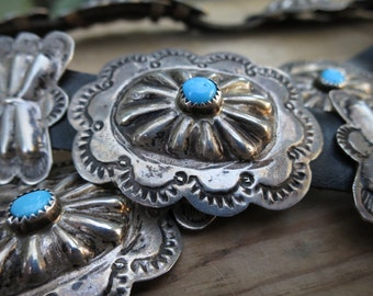 Vintage Southwest Old Pawn Navajo Sterling Silver and Turquoise Concho Belt Native American Concho Belt signed by B YAZZIE