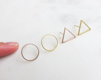 GOLDEN studs big brass gold plated / rose gold plated