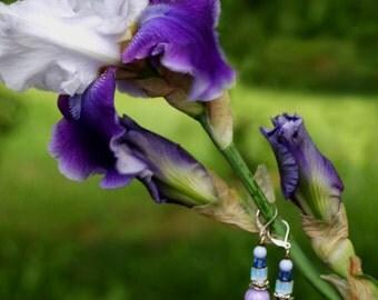 Handmade lilac / purple dangle earrings
