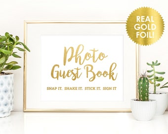 PHOTO GUEST BOOK Sign  in Gold Foil - Gold Foil Photo Guest Book Sign - Wedding Guest Book Sign  - Gold Foil Wedding Sign - Peony Theme